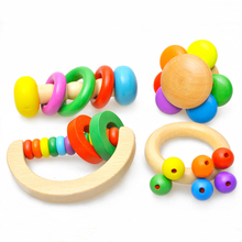 1pcs Kid Baby Toys Bell Wood Rattle Toy Handbell Musical Educational Instrument Toddlers Rattles Handle Baby Toy(China)