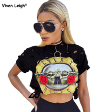 Gun N Roses Print Destroyed Hole T Shirt 2017 Cool Punk Style Women Fashion Sexy Club Shirts Rock Music Festival Party Clothing