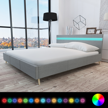 iKayaa modern design Bed artificial leather wood bed bedroom home furniture With LED Light gray ES Stock 200 x 180 cm