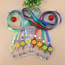 10pcs Yellow smiley face polyester Employee Appointment card Lanyards Badge with Lanyard Neck Strap for Work permit lanyard(China)