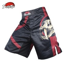 SUOTF Black Skull fear fierce fighting breathable fitness boxing pants mma boxing Tiger Muay Thai mma kickboxing shorts cheap