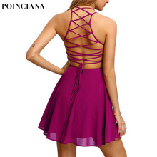 Lace Up Backless Summer Dress Spaghetti Strap A Line Dress With An Open Back Sexy Solid Color Fashion Sexy Club Dress For Girls