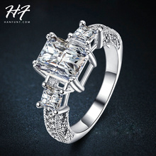 Exclusive! The Sliver Color Rectangle Prinecess Cut CZ Zircon Engagement Rings For Women Wholesale R343