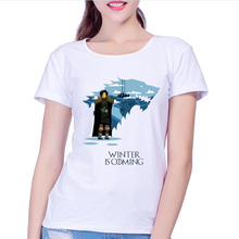 Buy New women's t-shirt Game Thrones Shirt Winter coming stark wolf funny casual t shirt womens summer tshirt women clothing for $8.09 in AliExpress store