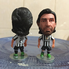 Soccerwe Classic Season 2.55 Inches Height Football Player Dolls JUV Number 21 Pirlo Figure White Black for Hot Sales