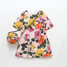 Summer Girls Dress Sets 2017 Birthday Party Dresses For Girls European American Flowers Cotton Girls Princess Dress With Bag