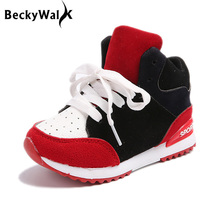 Fashion Patchwork Children Sneakers Autumn Winter High Top Kids Sports Shoes Girls Boys Lace-up Casual Shoes Size 26-36 CSH450(China)