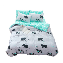 Papa&Mima cartoon style polar bear print bedlinens high quality cotton fabric Twin/Full/Queen/King size bedding set flat sheet