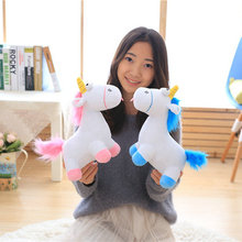 Cute pink/blue stuffed PP Cotton Horse doll Christmas present kids doll baby plush toys 30cm Cartoon plush Unicorn toys(China)