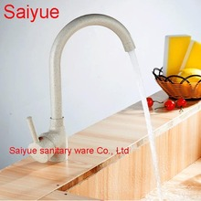 Swivel White Marble Stone Hot and Cold Water Kitchen Vessel Sink Faucet Painting Finish Deck Mounted Cuisine Mixer Tap