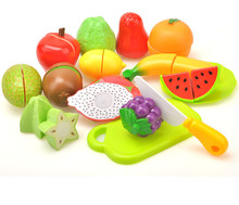Happy Children Preschool Children Wooden Food Fruit and Vegetable Cutting Set Colorful Pretend Play Kitchen Toys Set For Kids(China)