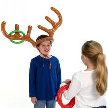 Christmas Toys Children Kids Inflatable Santa Funny Reindeer Antler Hat Ring Toss Christmas Holiday Party Game Supplies Toy