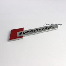 Auto 3D Black And Red SUPERCHARGED Logo Emblem Decal Badge Sticker for Audi(China)