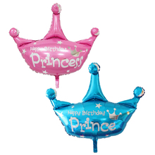 1pcs/lot pink and purple blue helium balloon princess crown foil balloons for happy birthday wedding party decoration(China)