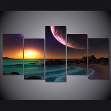 HD Printed purple planet ocean artistic Painting on canvas room decoration print poster picture canvas Free shipping/mvl-4166