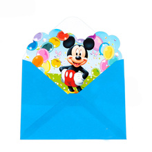 12pcs Envelopes +12pcs Invitation Card For Girl Boys Disney Mickey Mouse Story party supplies Baby Shower Birthday Decoration(China)