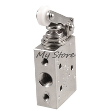Silver Tone Alloy 2 Position 5 Way Roller Lever Mechanical Valve Pneumatic valve switch TAC2-41P(China)
