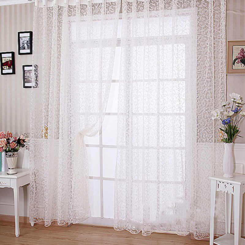 European Style Jacquard Design Home Decoration Modern Curtain Tulle Fabrics Organza Sheer Panel Window Treatment White