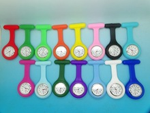 Wholesale 100pcs/lot Mix 14colors Nurse Fob Watch Silicone Chain Nurse Watch Doctor quzrtz watch NW018(China)