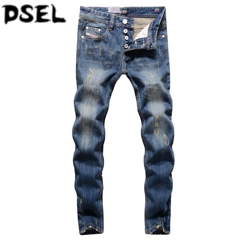 DSEL Brand Mens Jeans Fashion Retro Design Youth Stylish Denim Stripe Ripped Jeans Men Casual Pants Vintage Buttons Biker Jeans Îäåæäà è àêñåññóàðû<br><br>