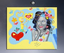 Free Shipping Hand Coppy Modern Love Pop Art hand painted on canvas for bed room no frame G-005(China)