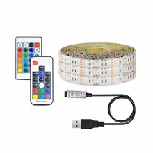 USB LED Strip RGB Fairy Light 5050 DC 5V TV Backlight String lamp DIY Mini 3Key / 17 Key RF / 24 Key IR Controller Adhesive Tape(China)