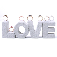 Lot of 4 Creative LOVE Words Ring Display Holder Velvet Ring Display Stand Jewelry Display Holder(China)