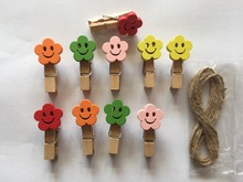 10pieces Smile Design Wood Clip Photo Clips Wooden Pegs Wedding Photo Picture Clips Bookmark Home Art Wall Decoration Hanging