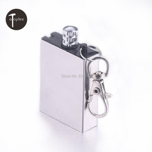 NEW 1 PCS Stainless Steel Metal Matching Permanent Fire Flint Lighters Keychain Outdoor Camping Matchbox Lighters