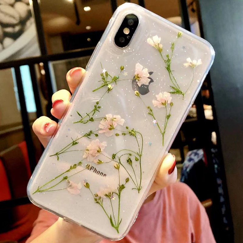 Clear Phone Cases For iPhone X Fashion Real Dried Flower Cases For iphone 6 6S 7 Plus Floral Back Cover For iPhone 8 Plus Fundas (6)