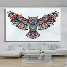 HDARTISAN Home Printed Fly the Wings of the Owl Modern Oil Painting on Canvas Prints Wall Art Pictures for Bedroom Living Room(China)