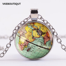 Hot! Arrived DIY Globe Dome Necklace Earth World Map Pendant Glass Chain Jewelry New York Map Handmade Necklace(China)
