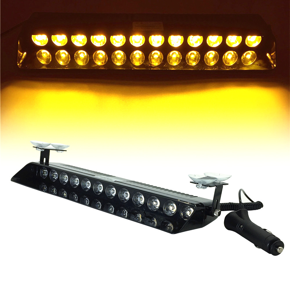 6 LED COB Amber Flash Emergency Beacon Dash Mini Sucker Strobe Windshield Light