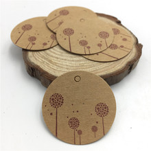 New Arrival 100pcs/lot Brown Kraft Paper Tags Round Label Wedding Decoration Message Tag 3.5*3.5cm