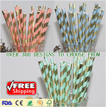 Free DHL 11000pcs Pick Colors Paper Straws-Metallic Gold Foil Light Blue Baby Pink Mint Striped-Wedding Shower Birthday Party