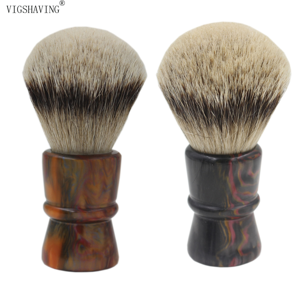VIGSHAVING 30mm Knot Colorful  Resin Handle Silvertip Badger Hair Brush for Barber Men Shave Tool<br>