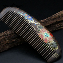 Diaphanous handmade CHACATE PRETO combs Authentic hand-painted lacquer art wood combs hair style designer with handle Y030(China)