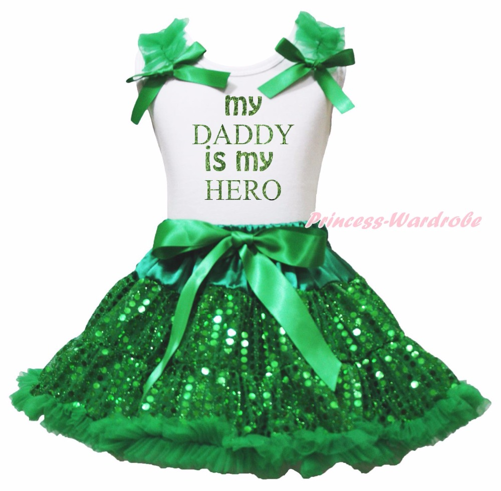 Valentine My Daddy Is My Hero White Top Green Bling Sequins Girls Skirt Set 1-8Y<br>