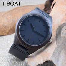 TIBOAT Cool Black Maple Men's Wood Watch Hand made Wristwatch Luxury Men with Genuine Leather Watch Gift Reloj de madera(China)