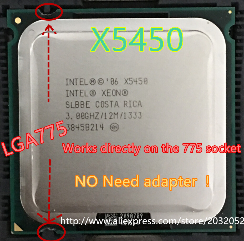 lntel Xeon X5450 3.0GHz/12M/1333Mhz/CPU equal to LGA775 Core 2 Quad Q9650 CPU,works on LGA775 mainboard no need adapter<br><br>Aliexpress