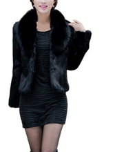 IMC Womens Imitation mink hair Nagymaros collar long-sleeved short coat