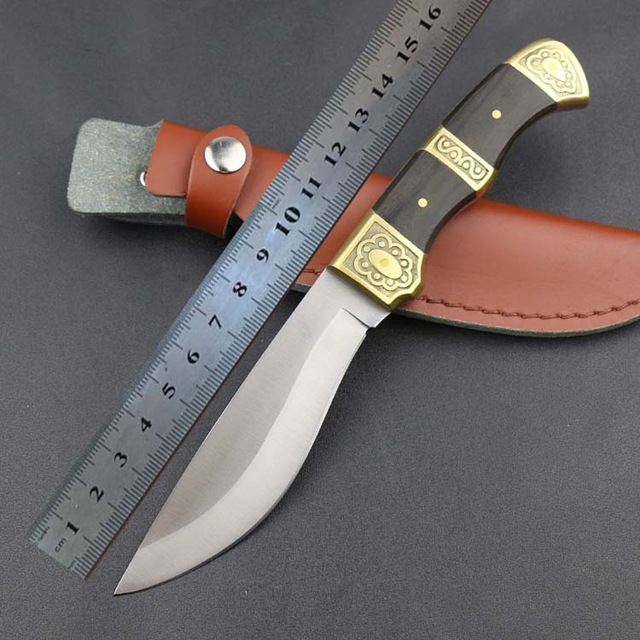 copper head straight knife blade material 5Cr13Wov Handle material copper surface sanding wood handle+ black leather belt<br><br>Aliexpress