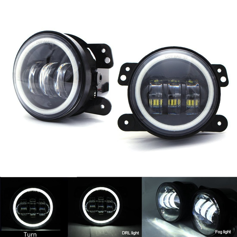 4 Inch 30w Led Fog Lights Led Fog Lamps Auto Led Headlight Driving for Jeep Wrangler Dodge Chrysler Front Bumper Lights<br>