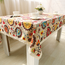 Bohemian National Wind Decorative sun flower Table Cloth Cotton Linen Lace Tablecloth Dining Table Cover Kitchen Home Decoration(China)