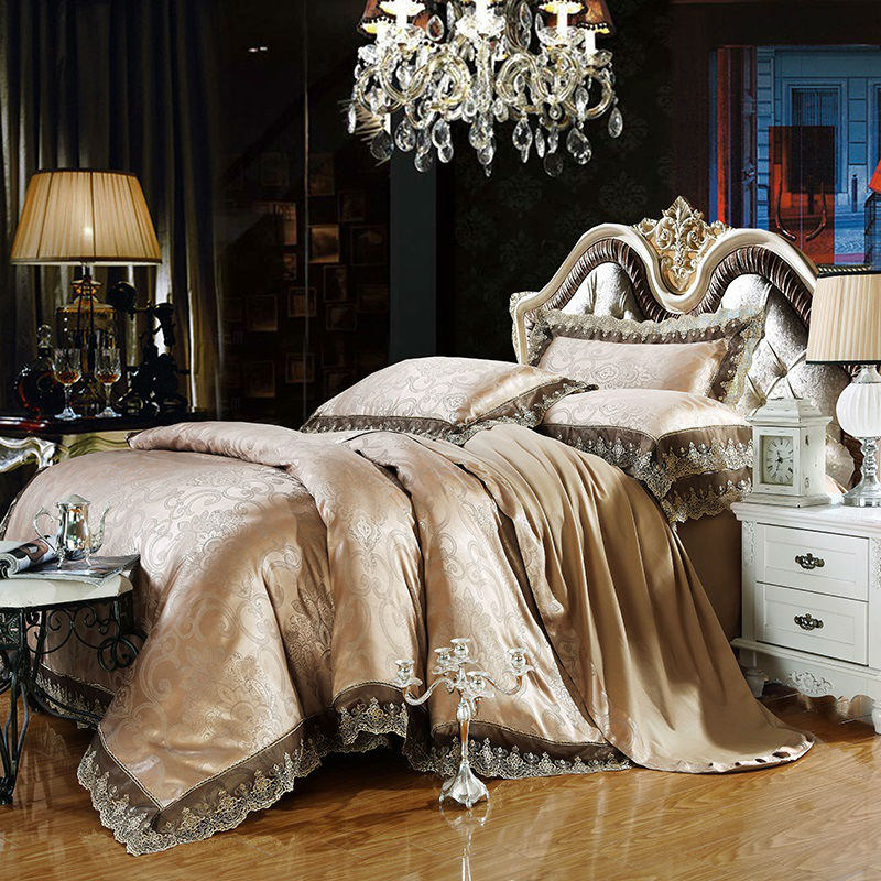 Gray gold Jacquard bedding sets 6pc/4pc queen king size duvet cover set Silk Cotton blend Fabric luxury bedlinen(China (Mainland))