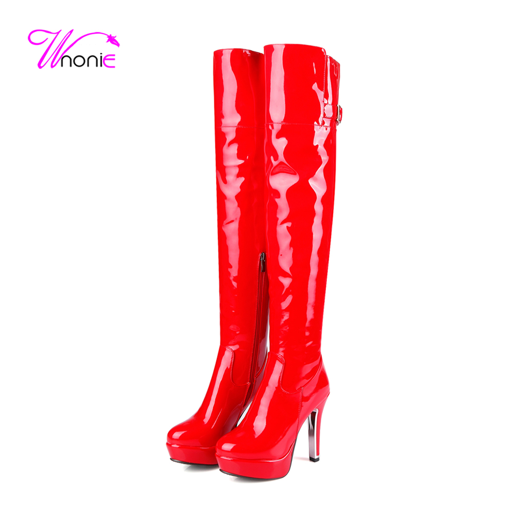 2017 Fashion Womans Boots Thigh High Thick Heel Patent PU Buckle Zip Euroamerican Warm Plush Casual Party Sexy Winter Lady Shoe<br>