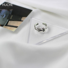 HUCHE Vintage 925 Sterling Silver Jewelry Rings for Women Knot Thailand Silver 925 Ring Female Open Ringen Lady Jewellery HC054