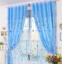 Free shipping kid sheer curtain fabric with lining curtains for bedroom(China)
