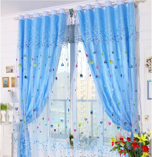 free shipping kid sheer curtain fabric with lining curtains for