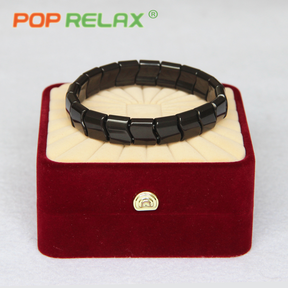 POP RELAX Korea germanium tourmaline ion bracelet for men women ion physiotherapy energy health care bio massage stone bracelet<br>